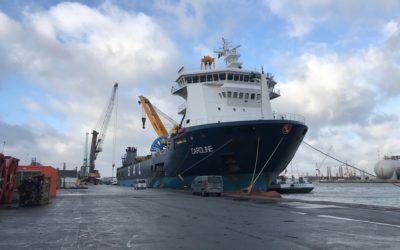MV Caroline last December in Antwerp